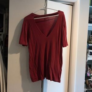 Red V neck cut out tee